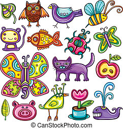 Flora and fauna theme. Cartoon vector set of colorful icons of animals, birds and plants. Doodle collection contains: leafs, owl, pigeon, bumblebee, monkey, goldfish, ladybug, butterfly, kitten, apple