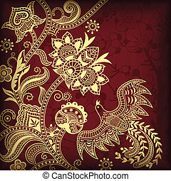 Illustration of floral and bird in asia style.
