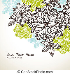 Hand-drawn floral background design with room your text. Elements are grouped for easy editing. Text is expanded and does not require fonts.