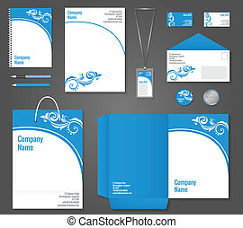 Blue and white floral curly business stationery template for corporate identity and branding set vector illustration