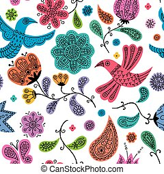 Seamless colorful floral doodles pattern.