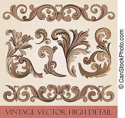 Vintage floral design elements collection. Luxury Vector.