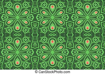 Floral green seamless pattern with pink flowers