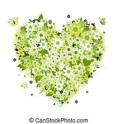 Floral heart shape, summer green