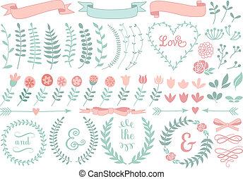 vintage floral laurel wreath set, vector design elements