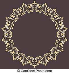 Floral Modern Vector Round Frame