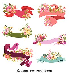 Floral Ribbon Banners - for wedding cards, scrapbook and design in vector