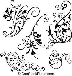 Vector floral scroll ornaments. Grouped for easy editing.