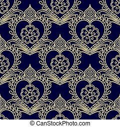 Floral seamless gold pattern on blue. Dark background with Golden decorative elements.