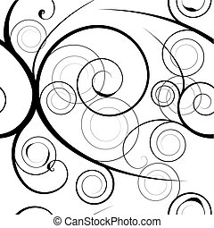Black floral swirl white background with seamless pattern