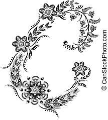 Floral uppercase letter C monogram
