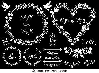 floral wedding frames, vector set