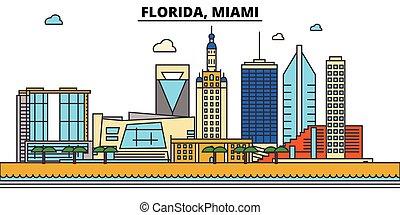 Florida, Miami. City skyline: architecture, buildings, streets, silhouette, landscape, panorama, landmarks, icons. Editable strokes. Flat design line vector illustration concept.