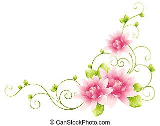 illustration drawing of beautiful flower with vines