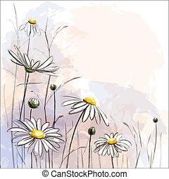 Flower romantic background. Daisies