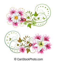 Flowers arrangement and butterflies