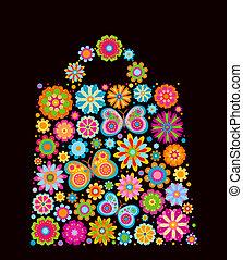 flowers and butterflies bag shape