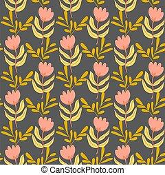 Flowers leaves on dark background seamless pattern.