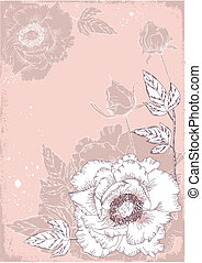 Vintage flowers postcard for text. Vector floral background