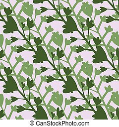 Flowers silhouettes seamless simple pattern. Light and dark green botanic ornament on pastel grey background.