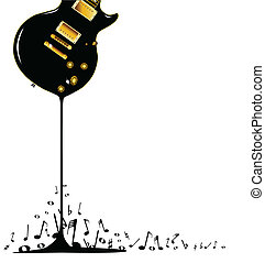 A rock guitar melting down with musical notes spashing around at the base.