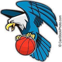 Flying Bald Eagle Grab Basketball