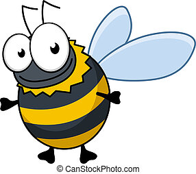 Flying cartoon bumble bee or hornet with colorful black and yellow stripes and a happy smile, isolated on white