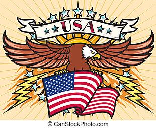 Flying eagle with USA flag, Eagle holding flag of United States
