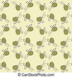 Flying honey bees vector seamless pattern background.