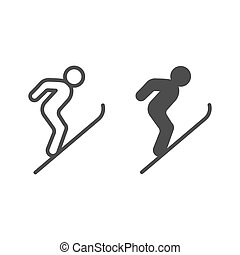 Flying skier line and solid icon, Winter season concept, Ski Jumper sign on white background, Ski jumping silhouette icon in outline style for mobile concept and web design. Vector graphics.