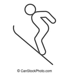 Flying skier thin line icon, Winter season concept, Ski Jumper sign on white background, Ski jumping silhouette icon in outline style for mobile concept and web design. Vector graphics.