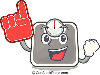 Foam finger weight scala isolated with in cartoons vector illustration