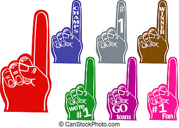 Foam fingers use for sports teams and cheers