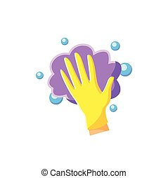 Foaming flat icon. Soaping, wiping. Housekeeper hand in glove, whipping foam pictogram. Wet cleaning. Housekeeping and surface disinfection concept. Color vector illustration