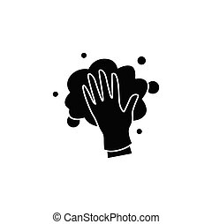 Foaming glyph icon. Soaping, wiping. Housekeeper hand in glove, whipping foam filled flat sign. Wet cleaning. Housekeeping and surface disinfection concept. Isolated silhouette vector illustration