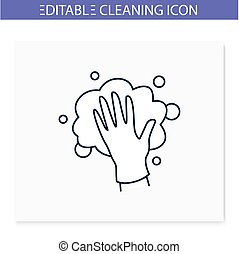 Foaming line icon. Soaping, wiping. Housekeeper hand in glove, whipping foam. Wet cleaning. Housekeeping and surface disinfection concept. Isolated vector illustration. Editable stroke