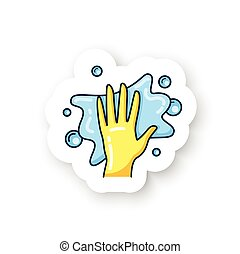Foaming sticker icon. Soaping, wiping. Housekeeper hand in glove, whipping foam pictogram. Wet cleaning badge for designs. Housekeeping and surface disinfection vector emblem