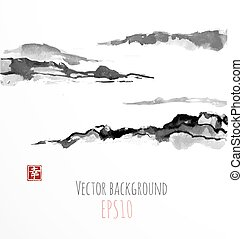 Fog mountains, hand-drawn with ink in traditional Japanese style sumi-e. Contains hieroglyph - happiness.