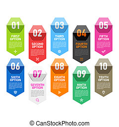 Folded paper numbers infographic elements