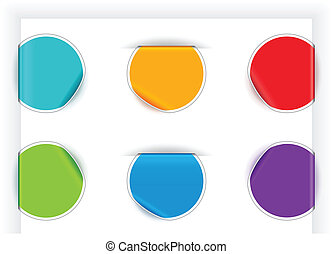 Folded stickers in different colors. EPS 10 with blend & transparent shadows.