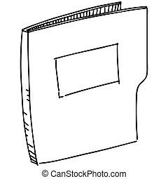 Folder icon. Hand drawing cartoon sketch vector illustration