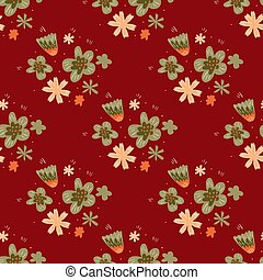 Folk flowers ornament seamless doodle pattern in hand drawn style with maroon background.