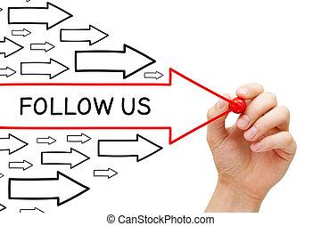 Follow Us Arrows Concept