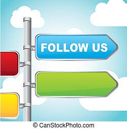follow us sign street over sky background. vector illustration