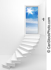 3d render of an opened door to a dream day