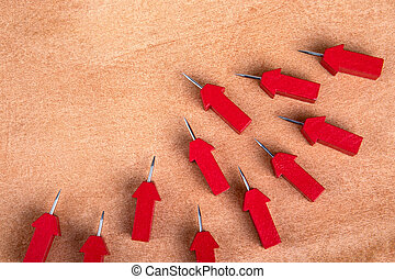 Followers, social media, opinion leaders and influencers concept. Red arrows with pins