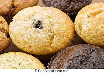 A Plate of muffins - Blueberry muffin in focus