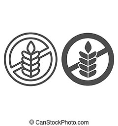 Food allergy to wheat line and solid icon, Allergy concept, Gluten free sign on white background, branch with grain icon in outline style for mobile concept and web design. Vector graphics.