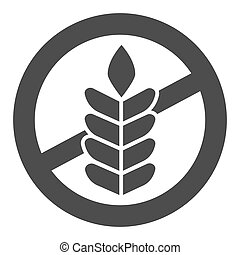 Food allergy to wheat solid icon, Allergy concept, Gluten free sign on white background, branch with grain icon in glyph style for mobile concept and web design. Vector graphics.