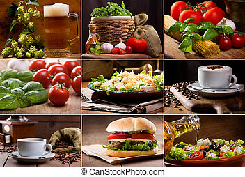collage of still life of different food and drinks